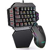 RedThunder Tastiera e Mouse da Gioco RGB a Una Mano, Tastiera Meccanica con Interruttore Blu, Mouse Programmabile da 6400 DPI, Controller di Gioco Portatile per PC PS4 Xbox Gamer