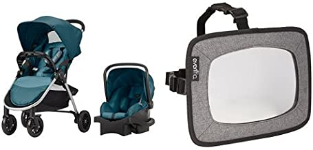 Evenflo Folio Travel System, Meridian with Backseat Baby Mirror for Rear Facing Child, Grey Melange