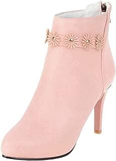 VulusValas Women High Heel Ankle Boots Zip