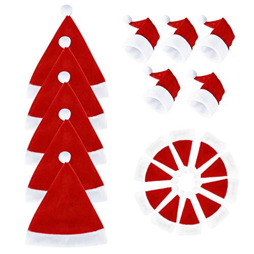 CENXINY Mini Weihnachtsmützen 20 Stück, Lustige Santa Hats Weihnachtsdekoration für Weinflaschen, Geschirr, Lutscher, Obst, DIY Christmas Hats in 3 Größe