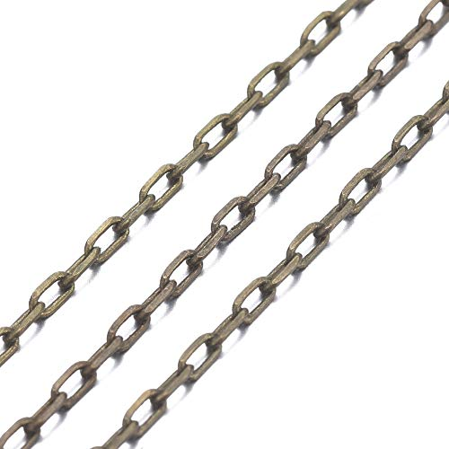 Fashewelry Cadena de eslabones ovalados de bronce antiguo de 10 metros, cadena de cadena de cadena de 3 x 1,5 x 0,45 mm