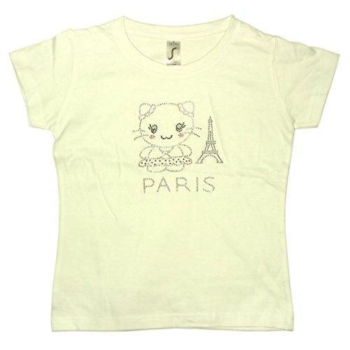T-Shirt Fille Paris Tour Eiffel Strass - Blanc (2 Ans)