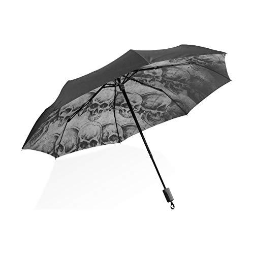 Umkehren Regenschirme Tattoo Art Schädel über alte Paper2 tragbare kompakte Taschenschirm Anti-Uv-Schutz Winddicht Outdoor-Reisen Frauen Infant Umbrella