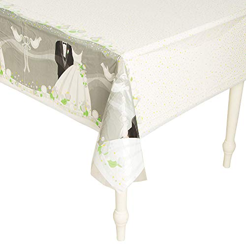 Silver Wedding Rectangular Plastic Table Cover, 54\