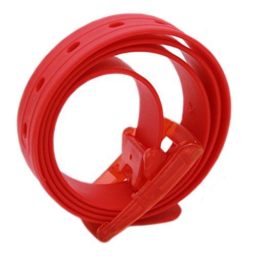 MEISHINE® 115 * 3.5cm Candy Colour Unisex Cintura in Silicone con Fibbia Plastica per Uomo Donna (Rosso)