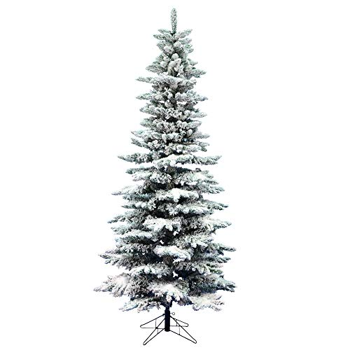 Vickerman 9' Unlit Flocked Slim Utica Fir Artificial Christmas Tree