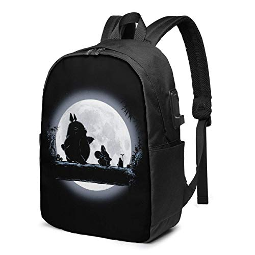 17-Inch Mochila con Puerto USB Mochilas Escolares Totoro Sign Backpack for Any Travel and Sport,7,One Size