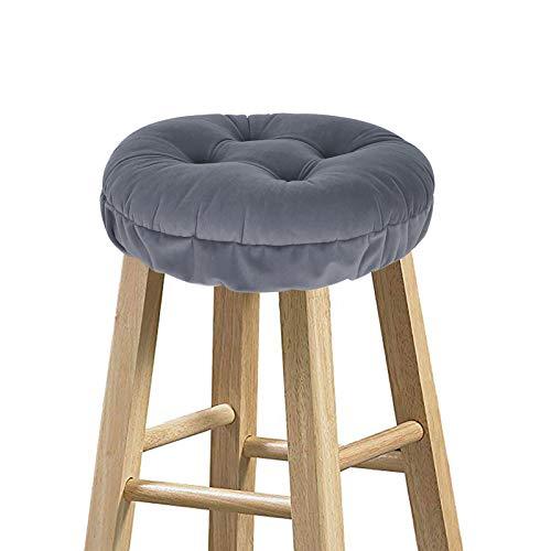 baibu Hocker-Überzüge, rund, super weicher Samt, rund, Barhocker, Kissen – nur Kissen (grau, 30 cm)