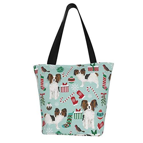 Personalisierte Leinen-Tragetasche, Papillon, Weihnachtshund, süße Papillons, Hunde, waschbar, Handtasche, Umhängetasche, Einkaufstasche für Frauen