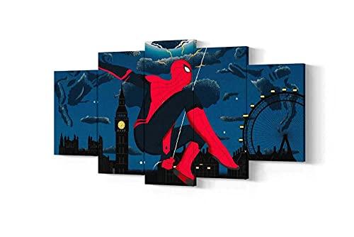 GSDFSD Cuadros Decoracion Salon Modernos 5 Piezas Spider Movie Pole Super Hero Lienzo Grandes XXL murales,Pared Cuadros Decorativos Modulares para Sala de Estar Impresiones 200x100cm