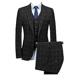 Men's 3 Pieces Suits Casual Notch Lapel Plaid Solid Tuxedo for Wedding (Blazer+Vest+Pants)