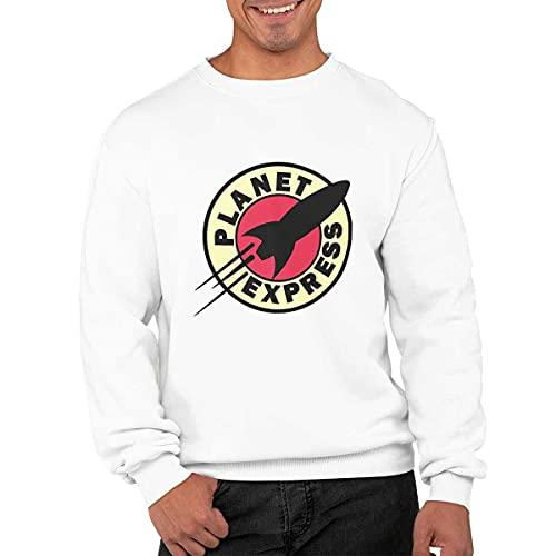 CHEMAGLIETTE! Planet Express - Sudadera de cuello redondo para hombre, de algodón, para el deporte y el tiempo libre, con divertido dibujo, Color blanco., S