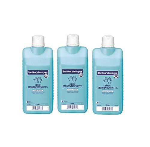 Sterillium classic pure | Parfümfreie Händedesinfektion | 3 x 1000 ml Flasche