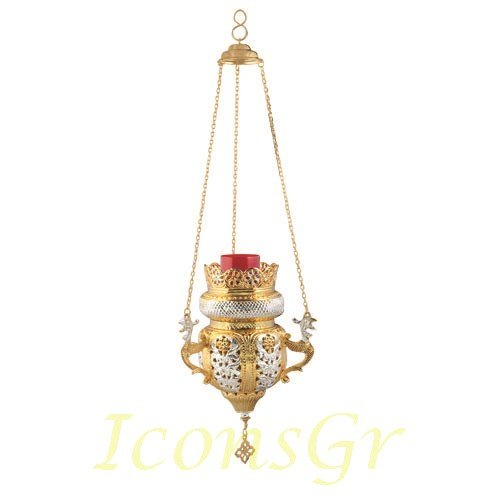 Gold Plated Orthodox Greek Christian Bronze Hanging Votive Vigil Oil Lamp with Chain and Red Glass - 9699gs