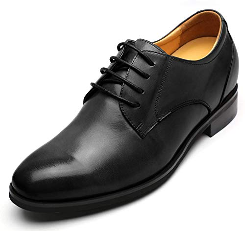 CHAMARIPA Zapatos De Cordones Para Hombre De Elevador De Cuero Negro Con Altura Creciente Plantillas Look Taller 2.95 Pulgadas-DX70H106S (43 EU, Negro)