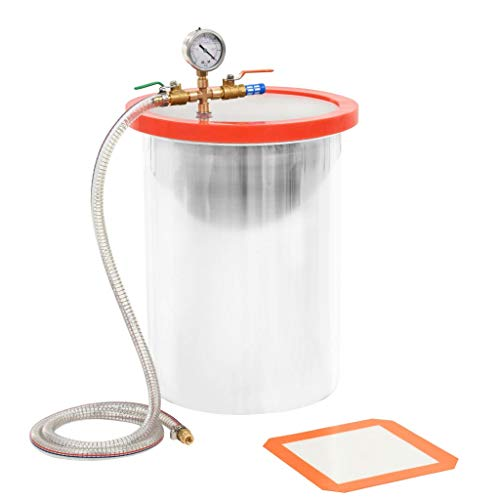 vidaXL Vakuumkammer mit Deckel Entgasungskammer Harzfalle Vacuum Chamber Vakuumpumpe Unterdruckpumpe Vakuum Pumpe Edelstahl 22,7L 29,5x39cm 1/4 Zoll