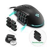 Gamkoo RGB ratón para juegos con cable, 【24000 DPI】【Luz de respiración】【Función de macros】【Programable 17 Botones】【Botón lateral intercambiable】Ratones de juegos MMO para juegos de PC con Windows
