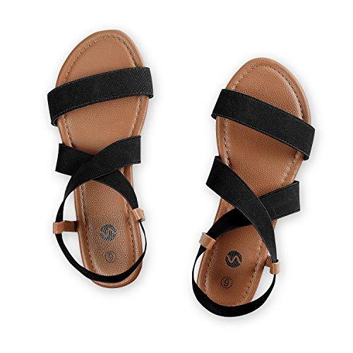 Rekayla Flat Elastic Sandals for Women Black 095