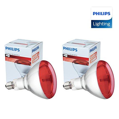 2 x Infrarrojos Bombilla para Estufa de infrarrojos - 250W 230-250V (E27) - Emite Calor - Luz Roja [ PACK ]