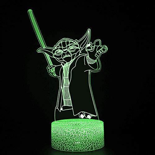 3d Led Night Light Star Series Yoda Figure Lámpara de escritorio para niños Dormitorio Decoración Lámpara de mesa Niños Proyección Luz Star Wars Yoda LED Night Lights