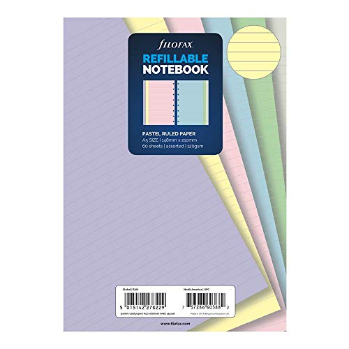 Filofax B152018 Notebook Refill, A5 Size, Pastel colors, Ruled Paper