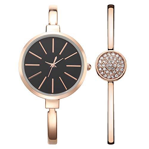 Orologio da donna 3ATM Orologi al quarzo impermeabili con quadrante nero con display analogico e bracciale in lega di oro rosa con decorazioni lucide a mano in cristallo