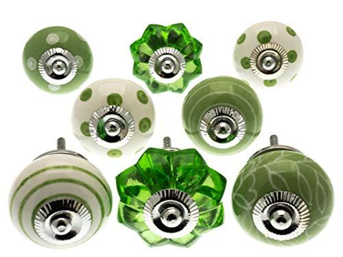 knoa, pomelli in ceramica dipinti a mano con puntini verdi accesi, righe e motivi, confezione da 8