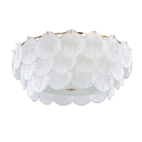 OMING Taklampa kreativ personlighet taklampa, sovrum vardagsrum matsal taklampa snäckskal textur glaslampa dimbar taklampa (storlek: Medium)