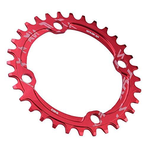 Alomejor Fahrradkettenring 32/34/36 / 38T BCD 104 Mountainbike Stahl Einzelkurbel Kettenblatt Reparatur Teile Kettenblätter für Outdoor Radfahren(32T-Rot) - 3