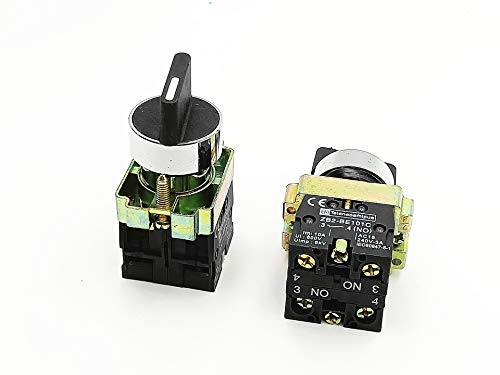 2pcs 22mm Latching 2 NO Three 3-Position Rotary Selector Select Switch ZB2-BE101C