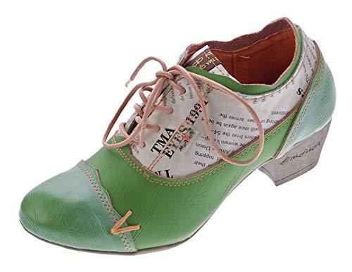 TMA Damen Comfort Schnür Pumps Grün Echtleder Trichterabsatz 6161 Leder Schuhe Gr. 39