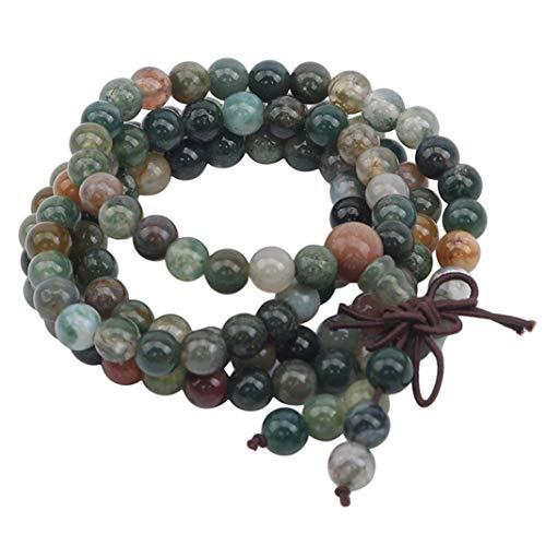 GLJYG Collar de ágata redondo con piedras preciosas, collar largo de perlas, estilo bohemio, para mujeres y hombres