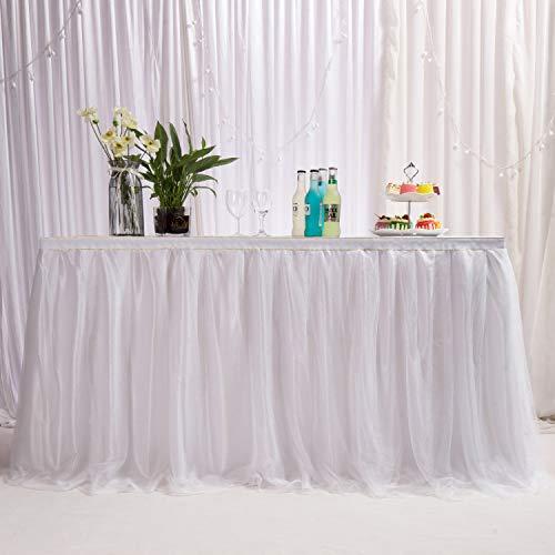 MYMM Falda de Mesa, Gasa de Escritorio romántica de Tul, decoración de Mesa, Mantel de Copo de Nieve del país de Las Maravillas, para Baby Shower, Boda, cumpleaños, día de San Valentín Navidad ( 3FT)