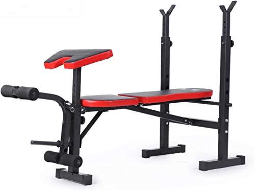 Equipo Gimnasio en casa Soporte para sentadillas, multifunción Banco de pesas plegable Equipo deportivo y de fitness Cama de entrenamiento de fuerza estándar ajustable Barra con mancuernas Estante mul