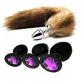 DIQIAN135 Long Furry Ạmạl Plǘg with Tail for Womēn Animals Faux Fur Fox Tail Beginner Prǒstǎte Mạssạge Metal Plǘg Šëx Tǒys + 3Pcs/Set Bûtt Pl'ug Beads Jeweled Back Massage Tool (Brown)