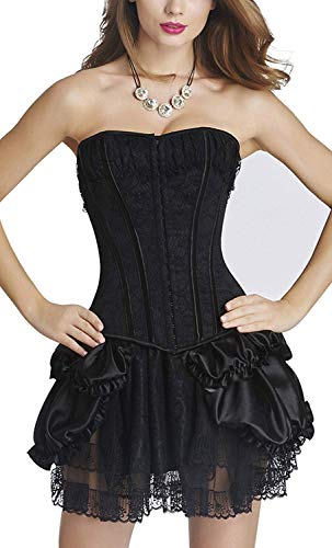 Vestido De Ramillete Color De Elegante Sólido De Las Tamaños Cómodos Mujeres De Moda del Vientre Ausente del Cuerpo Que Forma El Corsé Corsage Negro Vestido Mini Falda Enagua De Las Mujeres