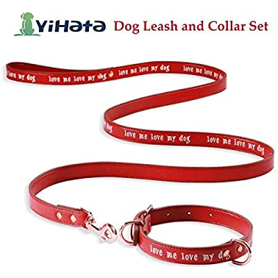 YIHATA Leather Dog Collar and Leash Set for Medium Dogs Small Dogs Belt Set Soft and Matching Leash and Collar (Pink)