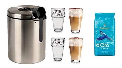James Premium® liefert Kaffeedose für 1kg Kaffeebohnen, Tee, Kakao, mit Aromaverschluss, Edelstahldose, silber + Dallmayr Crema D'oro Selektion des Jahres 2021