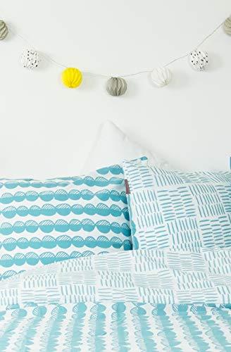 Kadolis Housse de Couette Coton Bio Bleu Motifs Galets + 2 taies d'oreiller 240 x 260 cm
