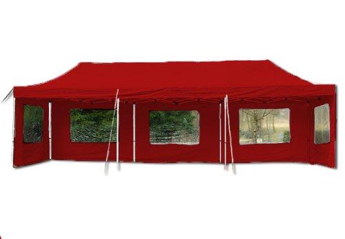Nexos Profi Faltpavillon Partyzelt Pavillon 3x9 m mit Seitenteilen - hochwertige Ausführung - wasserdichtes Dach mit PVC-Coating - 270 g/m² incl. Tragetasche und Zubehör – Farbe: rot