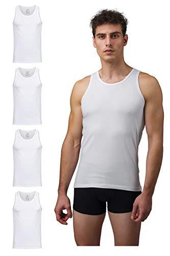 Burnell & Son Business Unterhemd Herren weiß grau schwarz blau Tank Top 4er Pack atmungsaktive Premium Baumwolle S–XXXL (4X Weiß, S)