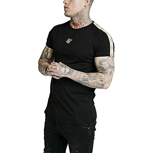 Camiseta SikSilk para hombre, color negro Negro XL