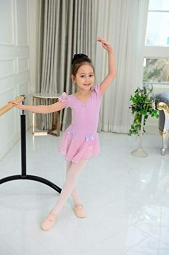 バレエ パフスリーブ レオタード 子供 スカートつき キラキララインストーン付き 半袖 (ラベンダー, 7サイズ)