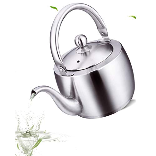 CJSWT Campana de Acero Inoxidable Top Whistling Kettle 1.5L Caldera de té, teteras para Fogón con Mango Anti-Caliente para Verter sobre el café