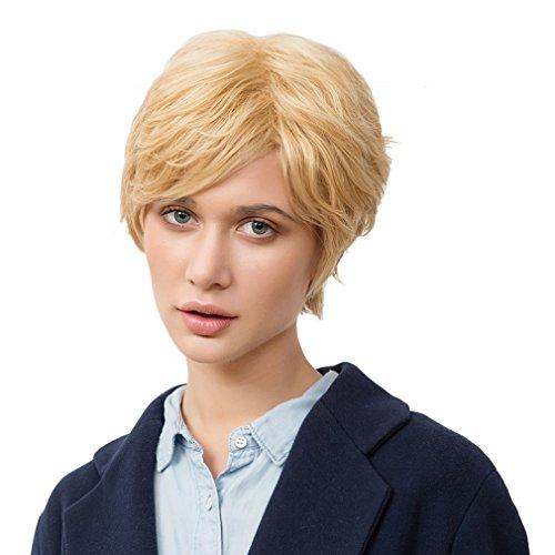 La Vogue Perruque Naturel Femme Vrai Cheveux Raide Droit Cosplay Soirée Blonde