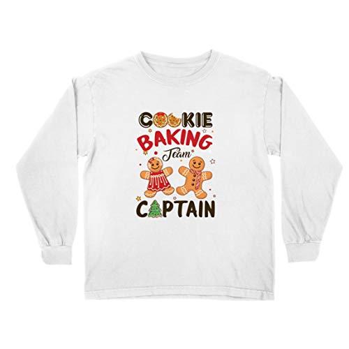 lepni.me Kinder-T-Shirt mit Langen Ärmeln Weihnachten Cookie Backteam Familienurlaub Kapitän (5-6 Years Weiß Mehrfarben)