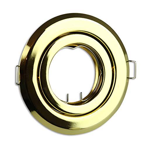 marco oro de foco empotrable redondo giratorio super plano - marco de montaje para bombilla GU10 MR16 - Ø80 - agujero de 85mm empotrable - foco empotrable
