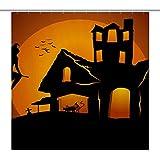 lovedomi Halloween Kinder Duschvorhang Hexe fliegt ins Schloss im Sonnenuntergang, schwarze Katze, mehrfarbig, Badezimmer-Dekoration, Duschvorhang, wasserdichter Polyester-Stoff, 182,9 x 182,9 cm