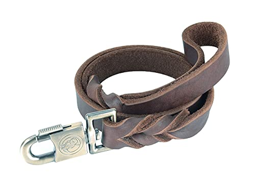 Braided Leather Dog Training Leash,3 Ft-1 in,Brown Soft and Strong Leash Leather Heavy Duty Leather Lead for Large Medium Extra Large Dogs