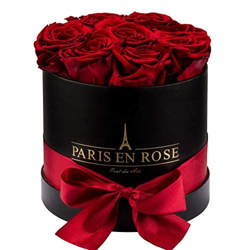 PARIS EN ROSE Rosenbox (Flowerbox) Pont-des-Arts mit 8-9 konservierten Infinity Rosen (Schwarz-Bordeauxrot)
